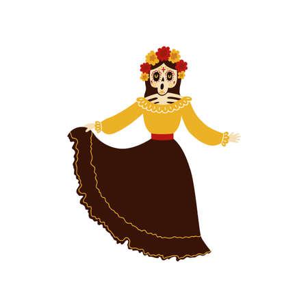 Female mariachi musician skeleton dancing and singing