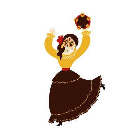 Female mariachi musician skeleton playing a tambourine