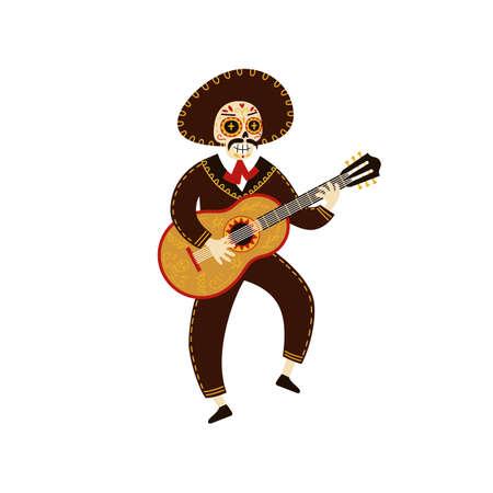 Mariachi musician skeleton dancing and playing guitar