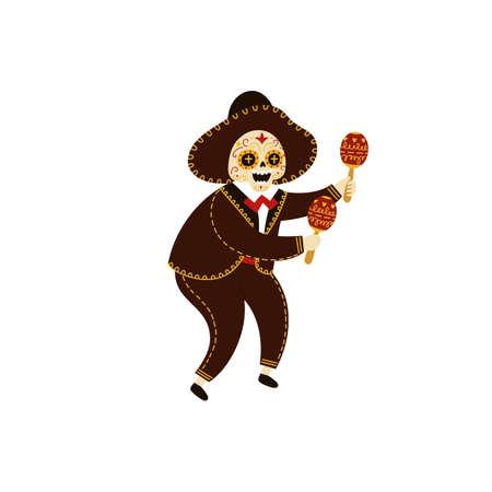 Mariachi musician skeleton dancing and playing maracas