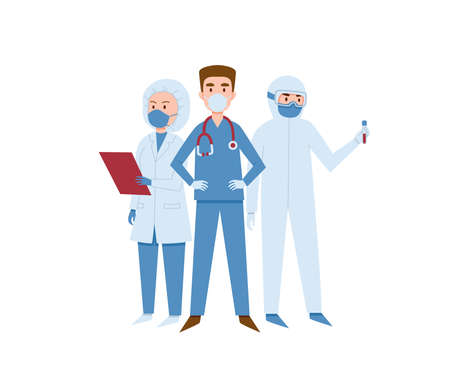 Medical workers ready to fight coronavirus vector illustration