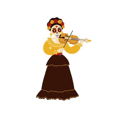 Female mariachi musician skeleton playing a violin