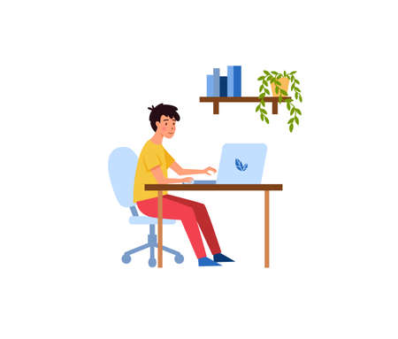 Young man working or studying from home