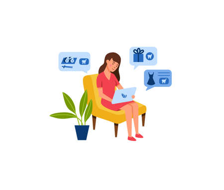 Young woman shopping online concept vector illustration.