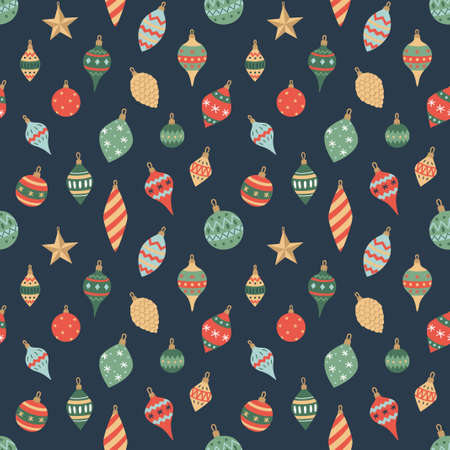 Colorful Christmas and new year seamless pattern