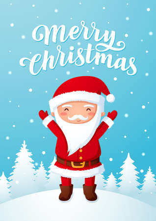 Merry Christmas greeting card with Santa Claus
