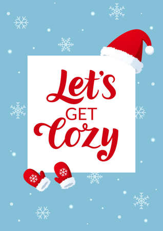 Greeting card with lets get cozy lettering Stockfoto - 160013801