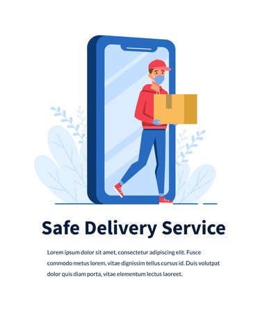Online safe delivery service with young man courier and smartphone vector concept