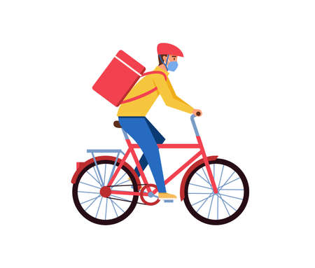 Delivery man courier riding a bike vector illustration