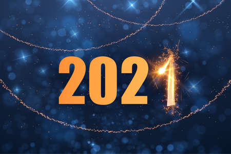 2021 New year holiday background with golden numbers and sparkles effect.