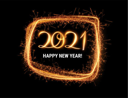 Stylish 2021 New Year vector background with sparkling number 1. Stock Illustratie