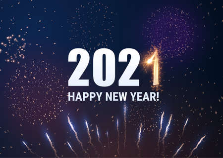 Stylish 2021 New Year vector background with sparkling number 1. Stockfoto - 160098528