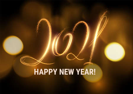 Stylish 2021 New Year vector winter holidays background with sparkling numbers.