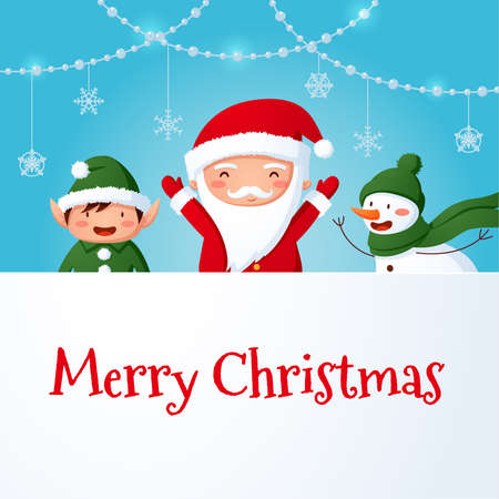 Santa and friends with Merry Christmas sign Stockfoto - 160074382