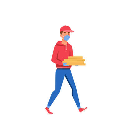 Pizza delivery guy with boxes flat vector illustration