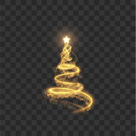 Shiny christmas spiral tree with shining star on top vector background Ilustração