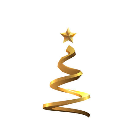 Golden spiral shaped stylised christmas tree vector background.