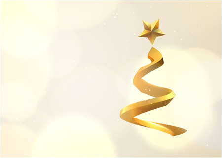 Golden spiral shaped stylised christmas tree vector background. Stockfoto - 160182859