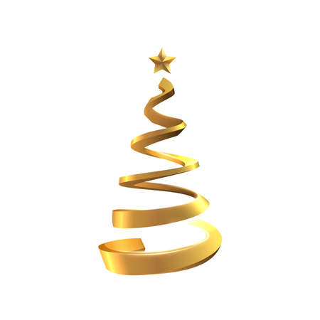 Golden spiral shaped stylised christmas tree vector background. Stockfoto - 160189376