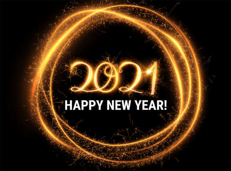 Stylish 2021 New Year vector background with sparkling numbers. Stock Illustratie