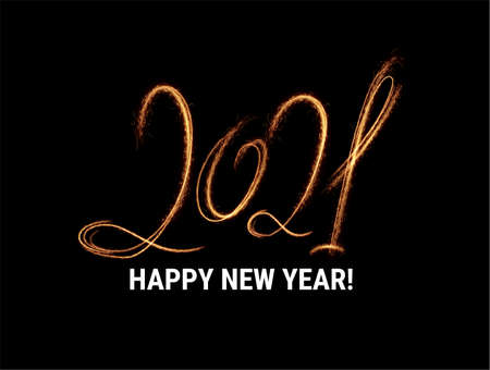 Stylish 2021 New Year vector winter holidays background with sparkling numbers. Stockfoto - 160189378