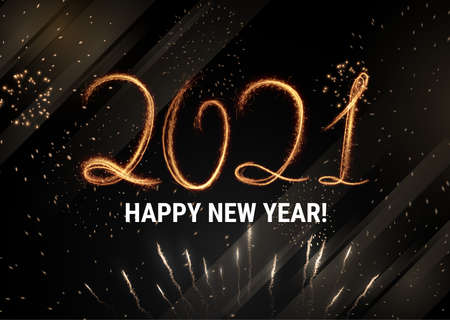 Stylish 2021 New Year vector winter holidays background with sparkling numbers. Stockfoto - 160189380
