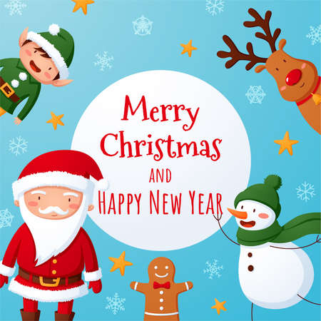 Cute Christmas illustration with Santa and friends Stockfoto - 160189379