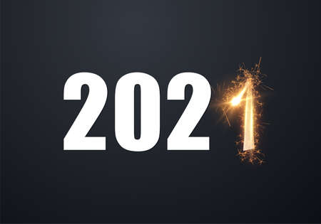 Stylish 2021 New Year vector winter holiday background with sparkling numbers.