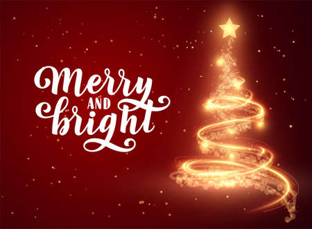 Shiny christmas tree with shining star on top vector background Stockfoto - 160189384