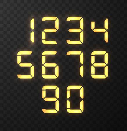 Digital numbers collection. LED numbers for time or clocks display.