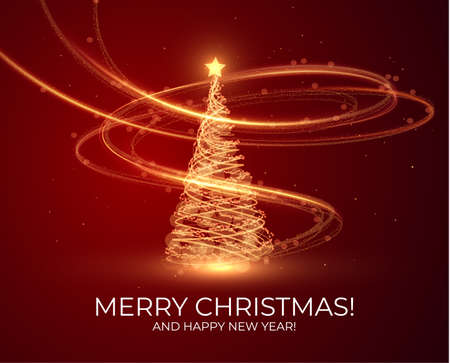 Shiny christmas tree with shining star on top vector background Stockfoto - 160189401