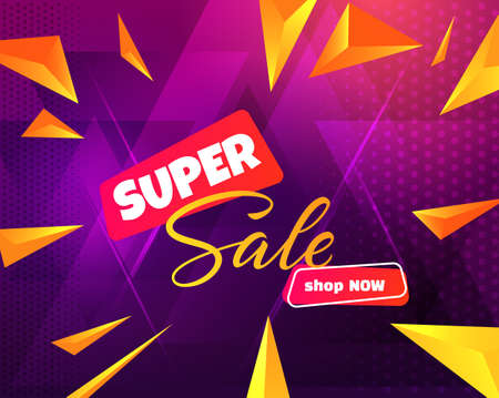 Neon colors style super sale background in trendy modern style. Vector eps10. Stock Illustratie
