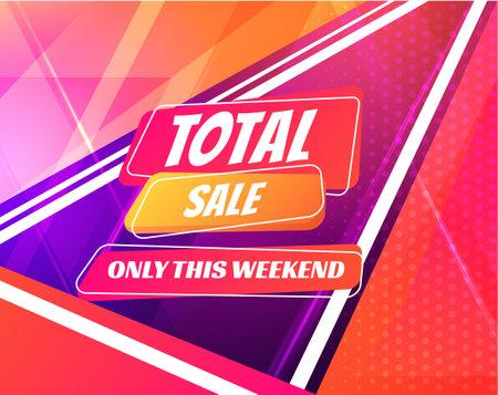 Total sale poster in trendy neon colors. Vector background. Stock Illustratie