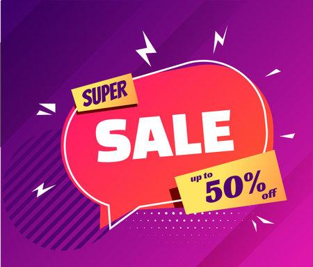 Super sale in trendy pop art style neon background.