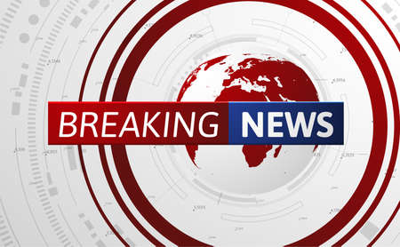 Breaking news vector background with world map. Stockfoto - 160232006