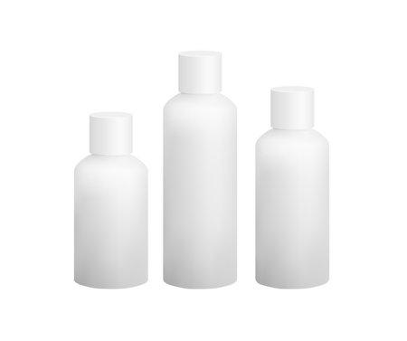 White plastic bottle mockup vector