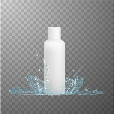 White plastic bottle mockup and water splash effect. Vector