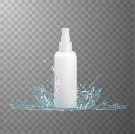 White plastic bottle with fine mist spray dispenser mockup