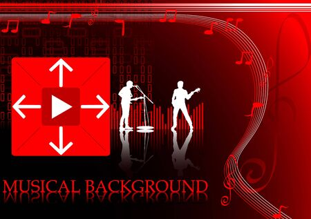 oscillation: Bright red-black background with musicians and notes