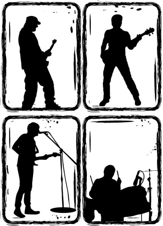 Music, Black silhouettes on a white background Stock Vector - 5883883