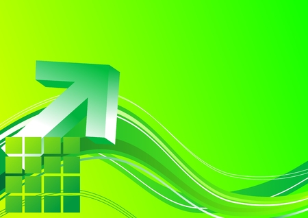 3d arrow on a bright green background Vector