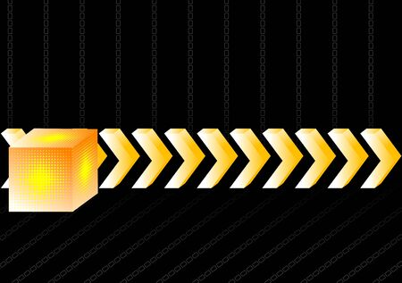 Gold 3d arrows and cube on a black background Vector