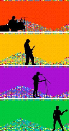 Set of colourful banners with musicians of a rock band Vector
