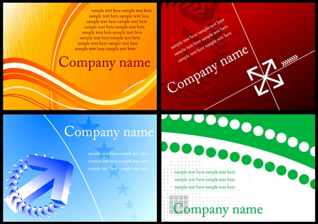 Set of four horizontal colorful business cards