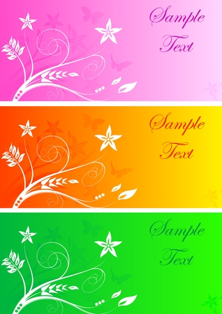 Set of three colourful bright floral banners Stock Vector - 6294753