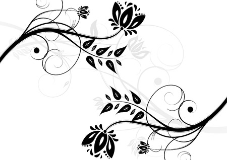 Black and white floral background (horizontal position) Stock Vector - 6294752