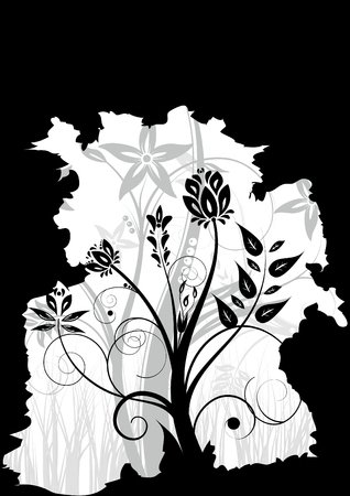 Black and white floral background (vertical position) Stock Vector - 6294751