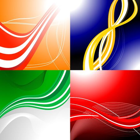 Four colourful abstract backgrounds with waves and gradient Stock Vector - 6461920