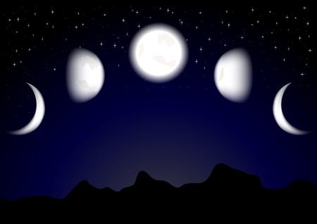 croissant de lune: Lune imposant sur un fond, m�me un gradient est possible (transparence utilis�e)