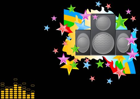 subwoofer: Bright musical image on a black background
